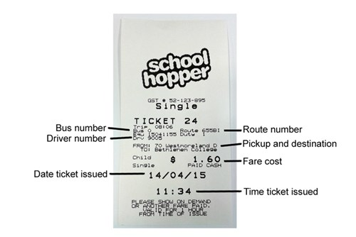 Schoolhopper cash ticket