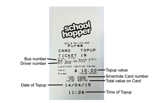 Schoolhopper Card Topup Receipt